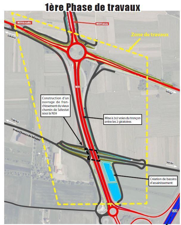 Schéma de la première phase de travaux du projet de déviation de la RN59 à Châtenois(Bas-Rhin)