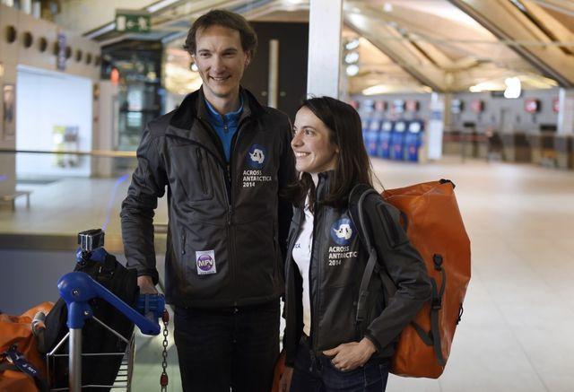 Stephanie et Jeremie Gicquel après leur traversée en Antarctique en ski de 74 jours