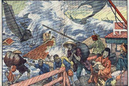 """Un raz de maree et un typhon s'abattent sur le Japon. Illustration de Damblans dans """"Le Pelerin"""" du 2 octobre 1927"""