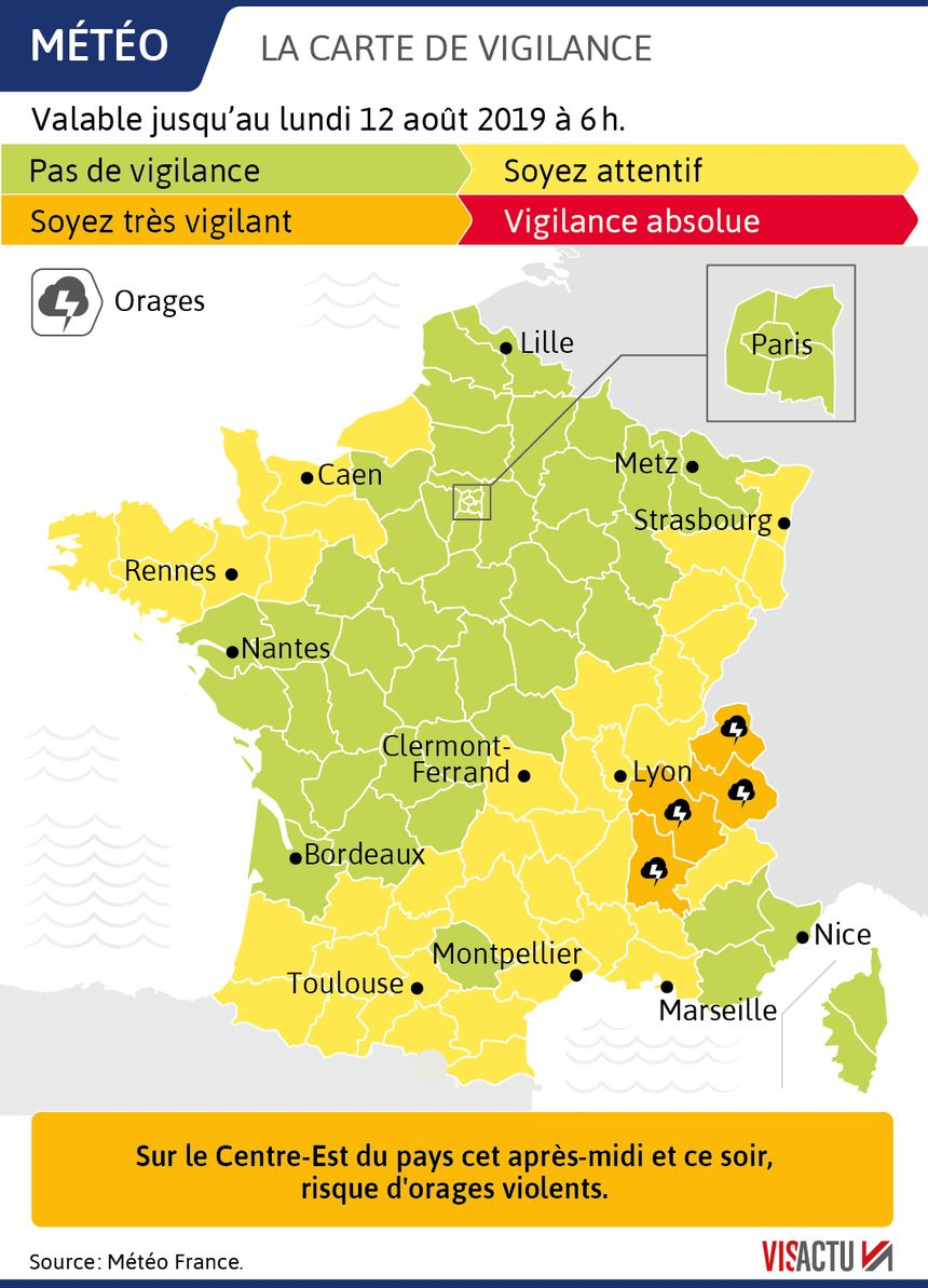 Orages : quatre départements en vigilance orange
