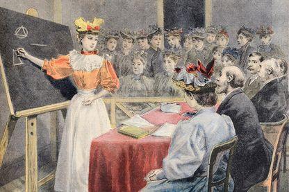 """""""Examens de jeunes filles àl'hôtel de ville"""" couverture du supplément illustré du Petit Journal (1895)"""