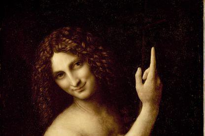 """""""Saint Jean-Baptiste"""", un tableau de Léonard de Vinci conservé au Musée du Louvre à Paris. Huile sur bois, 69x57 cm, 1513-16."""