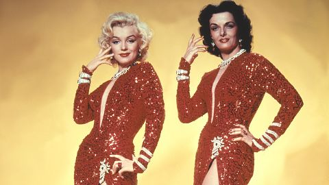 Marilyn Monroe et Jane Russel sur le tournage de Gentlemen Prefer Blondes