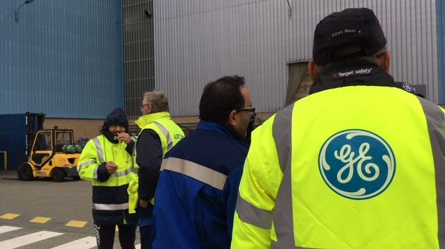 Action syndicale sur le site de General Electric à Belfort en octobre 2018.