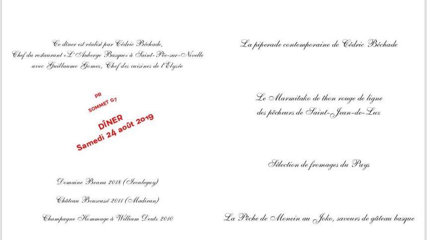 Le menu du dîner ce soir à l'hôtel du palais