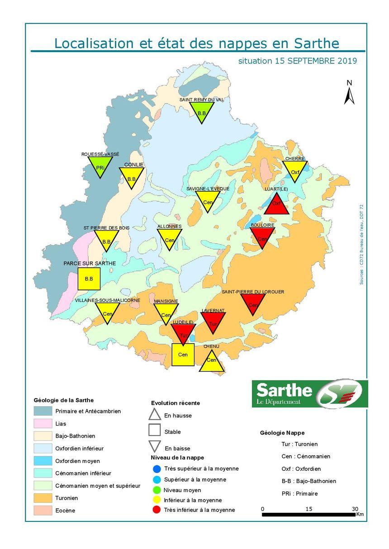 Cette carte, dressée par le bureau de gestion des eaux du département, permet de repérer les nappes où la sécheresse fait le plus de dégâts.