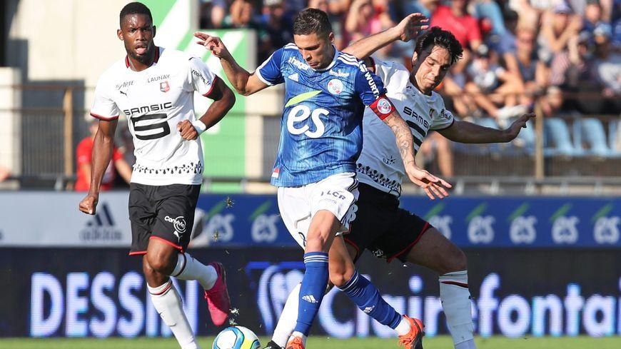 Jonas Martin (c) lors du match de football de L1 entre le Racing Club de Strasbourg Alsace et le FC Rennes, à Strasbourg le 25 août 2019