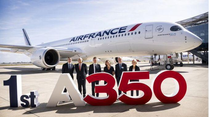 Air France recoit son premier Airbus A350 sur les pistes de Blaganc