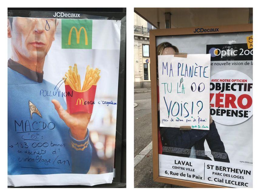 Les membres de Youth For Climate ont collé leurs affiches sur certaines publicités dans les rues de Laval