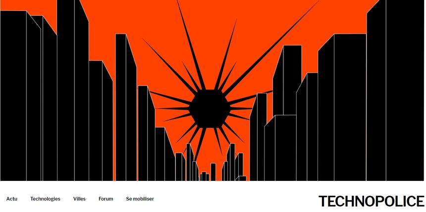 """Capture d'écran du site internet """"technopolice"""" crée par l'association la Quadrature du Net."""
