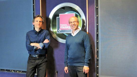 France Musique, studio 152... Claude Abromont, musicologue & Philippe Venturini, producteur de l'émission (g. à d.)