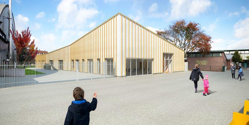 L'ossature du futur bâtiment sera conçue en bois