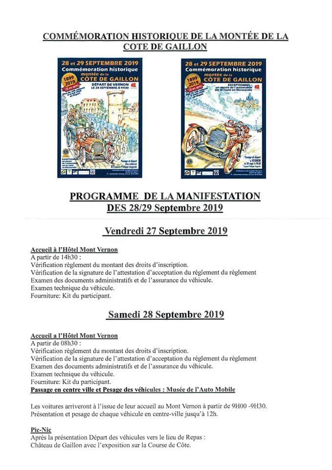 Programme des 120 ans de la montée de la côte de Gaillon