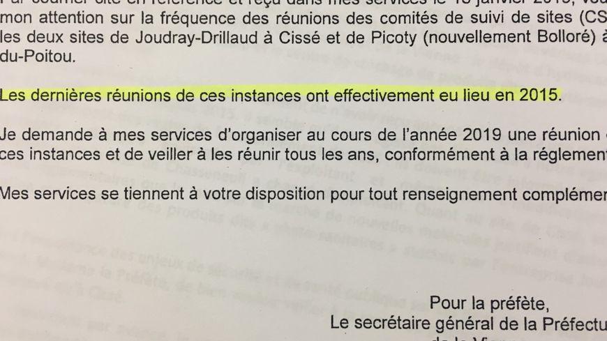 Dans un courrier, la préfecture de la Vienne reconnaît qu'il n'y a pas eu de réunion depuis 2015