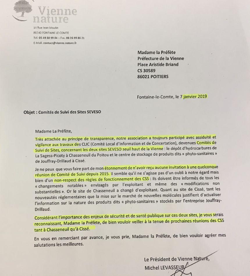 Extrait du courrier envoyé par Vienne nature environnement à la préfecture de Poitiers en janvier 2019