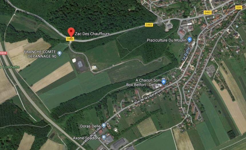 La future usine de méthanisation de Delle sera située Zac des Chauffours (capture d'écran Google Maps)