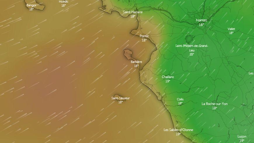 Les vents vont atteindre entre 30 et 40 noeuds ce dimanche midi sur la façade atlantique.
