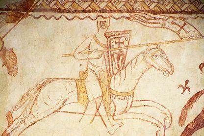 Chevalier sur une fresque de la chapelle templière de Cressac