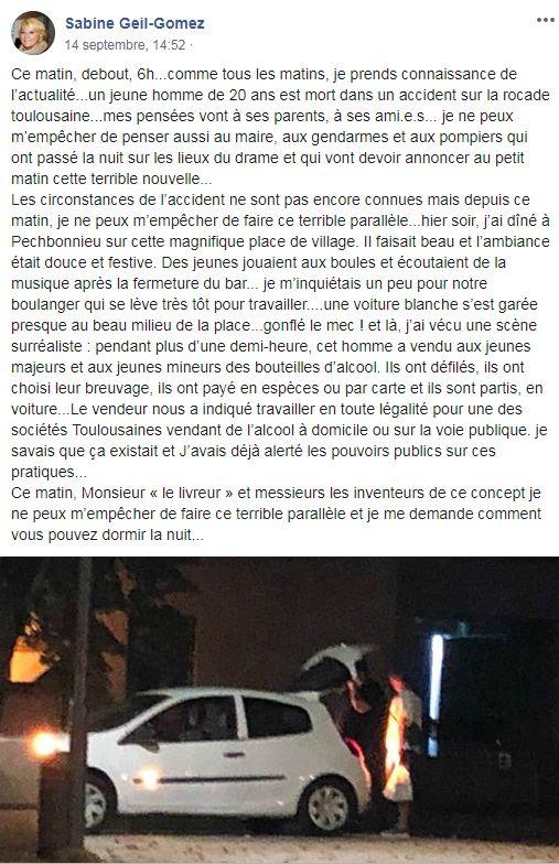 La maire de Pechbonnieu  s'indigne sur sa page Face Book
