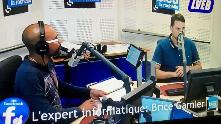 L'expert Brice Garnier avec Eric Morgane dans le studio de France Bleu LR