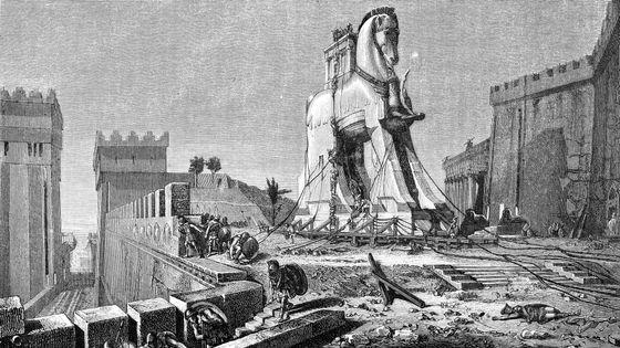 Gravure de la prise de Troie (1875)