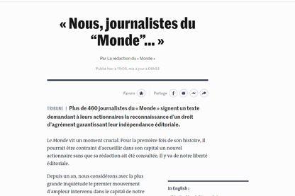 """Capture d'écran de la tribune  """"Nous, journalistes du Monde"""" publiée sur le site du journal le 10 septembre 2019"""