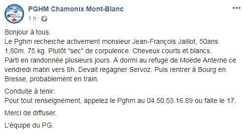 L'appel à témoins du PGHM sur sa page Facebook