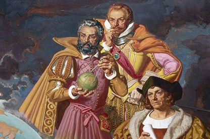 Christophe Colomb, Fernand de Magellan et Vasco de gama sur une lithographie de 1940