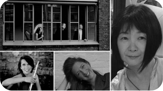 Le Trio Polycordes par Stéphane Vandenplas, Sophie Deshayes (flûte) par Arturo Fuentes, Mareike Schellenberger par Daniel Sultan et Rika Suzuki par Noémi Sawa