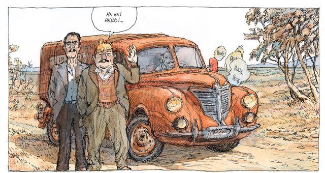 """Détail d'une planche de """"Visa Transit"""" de Nicolas de Crécy"""