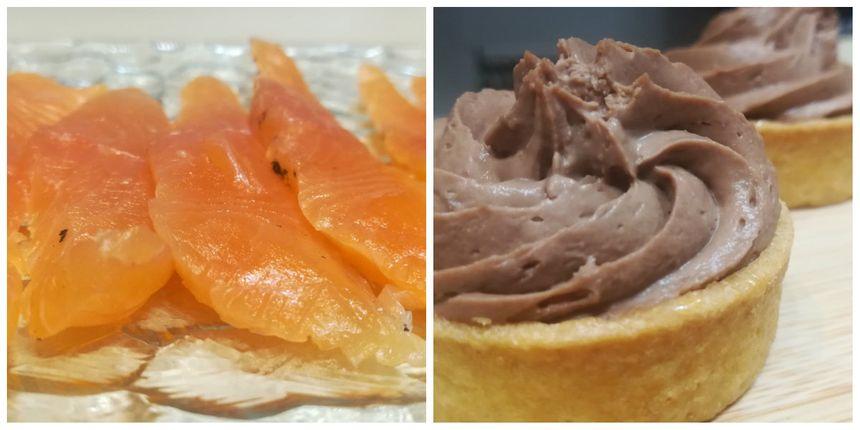 Truite de Banca et tartelettes chocolat chantilly, crème praliné et citron vert