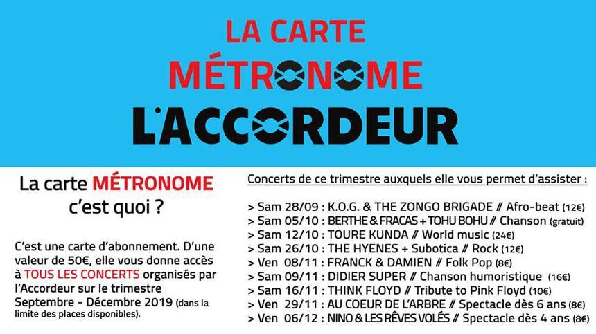 Pour 50€ vous avez accès à tous les concerts jusqu'à fin 2019