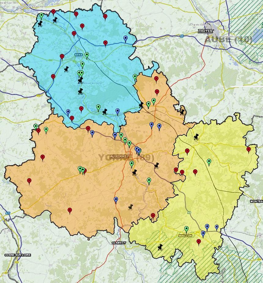 La carte publiée sur Facebook par la gendarmerie