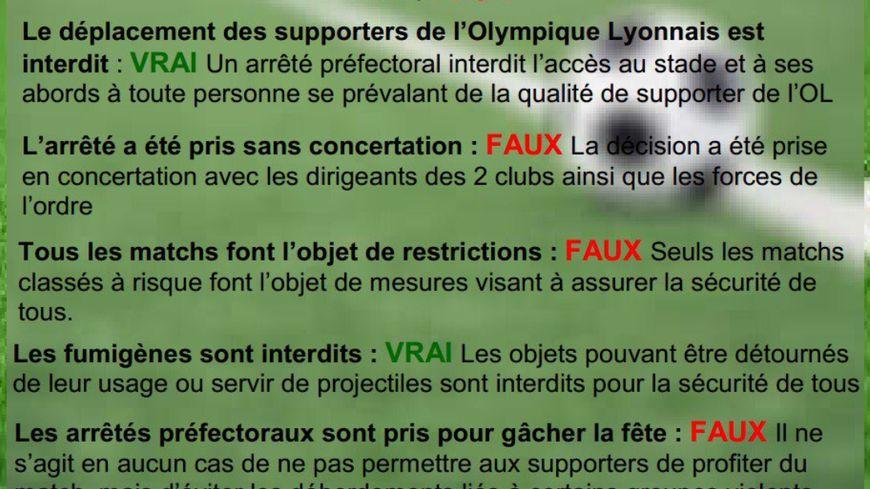 Le vrai du faux publié par la Préfecture de la Loire (capture d'écran)