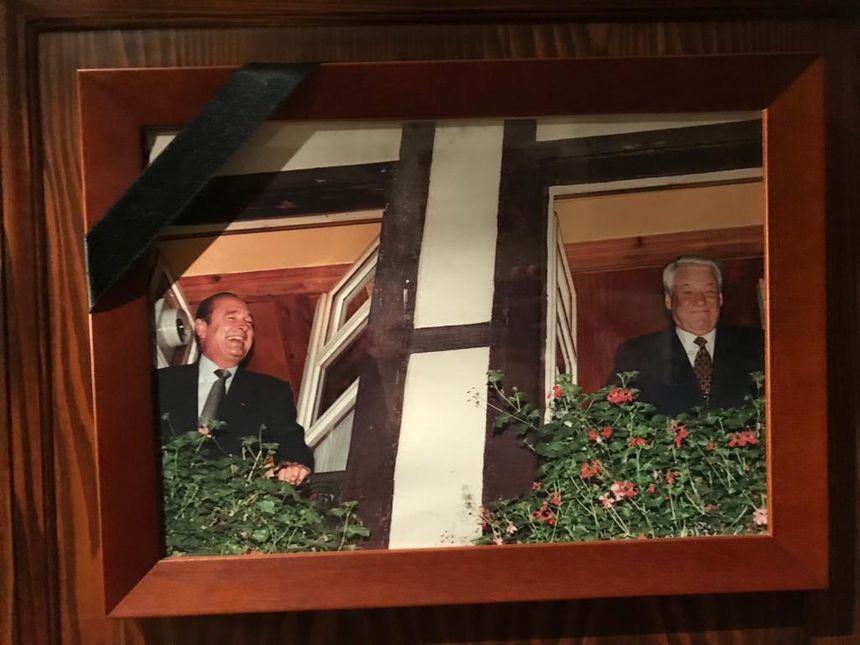 Jacques Chirac et son homologue russe, Boris Eltsine chez Yvonne