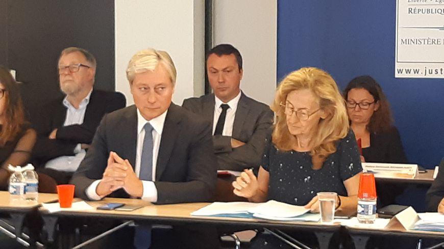 Nicole Belloubet, ministre de la Justice,  aux côtés du maire de Nancy Laurent Henart