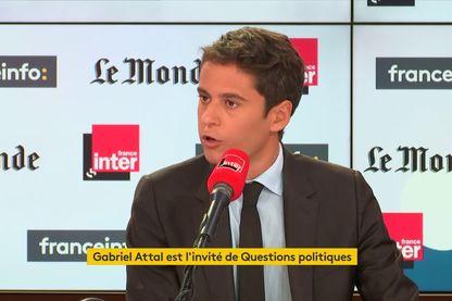 Gabriel Attal, dans les studios de France Inter le 22 septembre 2019.