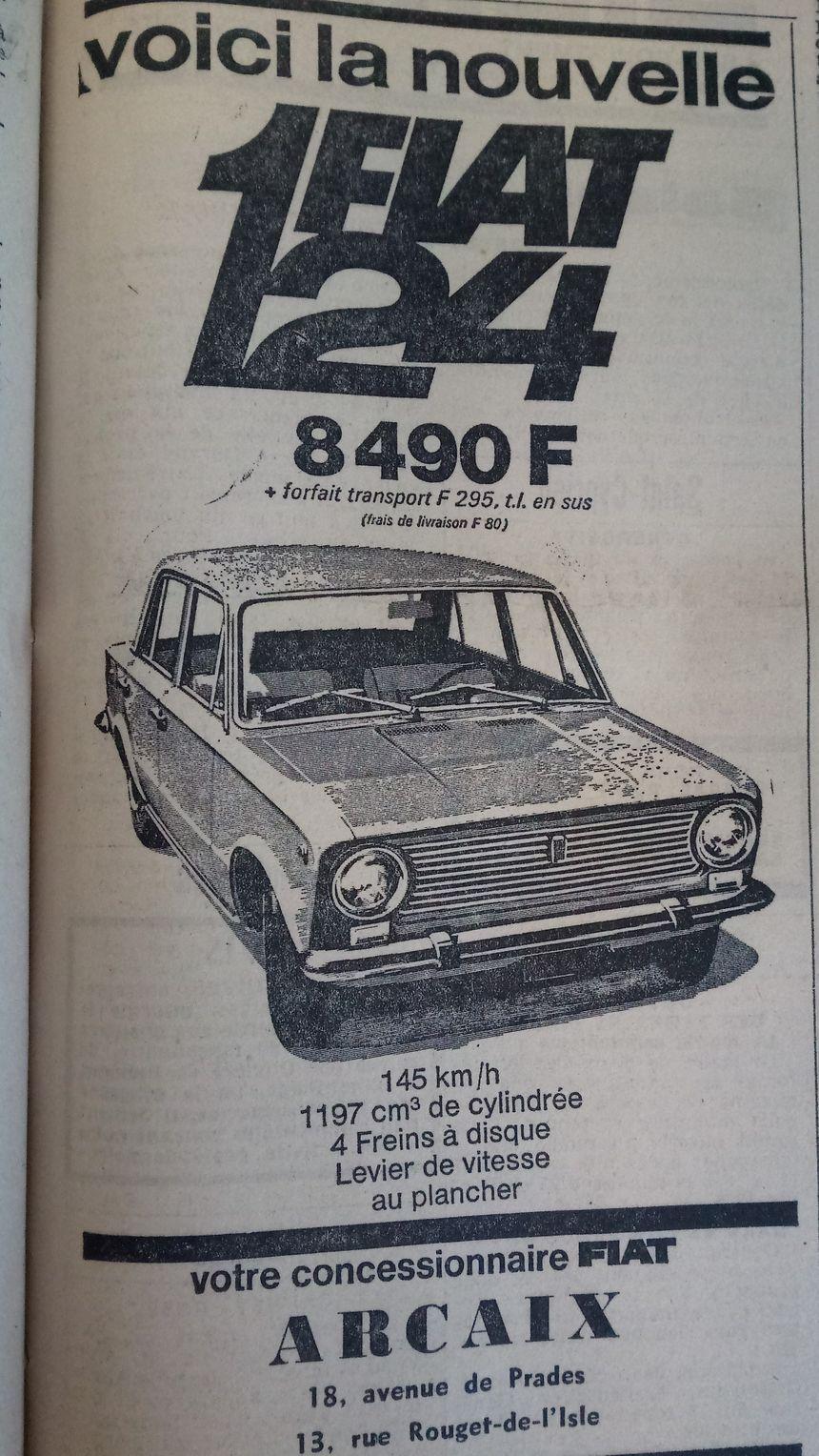 Publicité publiée pour le lancement du nouveau modèle Fiat