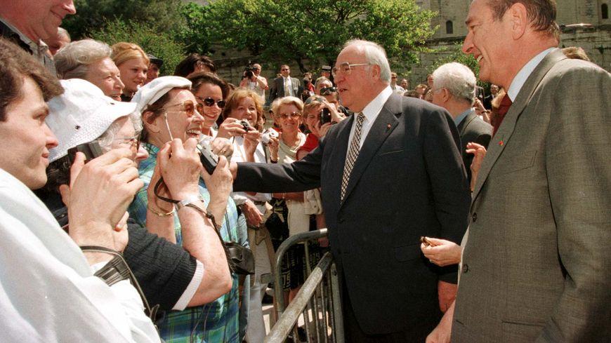 Jacques Chirac et Helmut Kohl lors du sommet franco-allemand à Avignon.