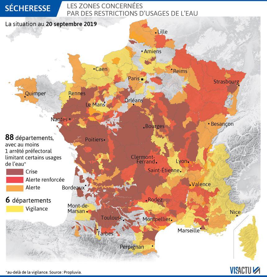 Les zones concernées par les restrictions d'eau au 20 septembre 2019