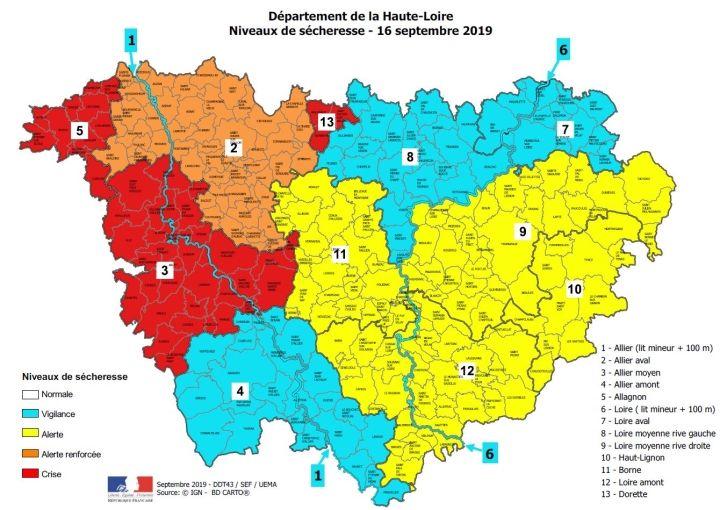 Trois bassins sont désormais en situation de crise - Source : préfecture de Haute-Loire