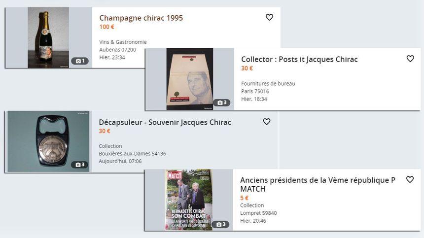 Toutes sortes de produits dérivés à l'effigie de Jacques Chirac sont en vente sur le site de petites annonces.