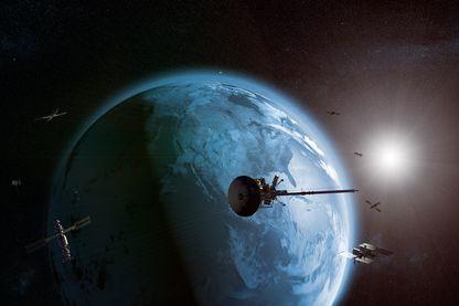 Plusieurs satellites gravitant face-à-face autour de la Terre