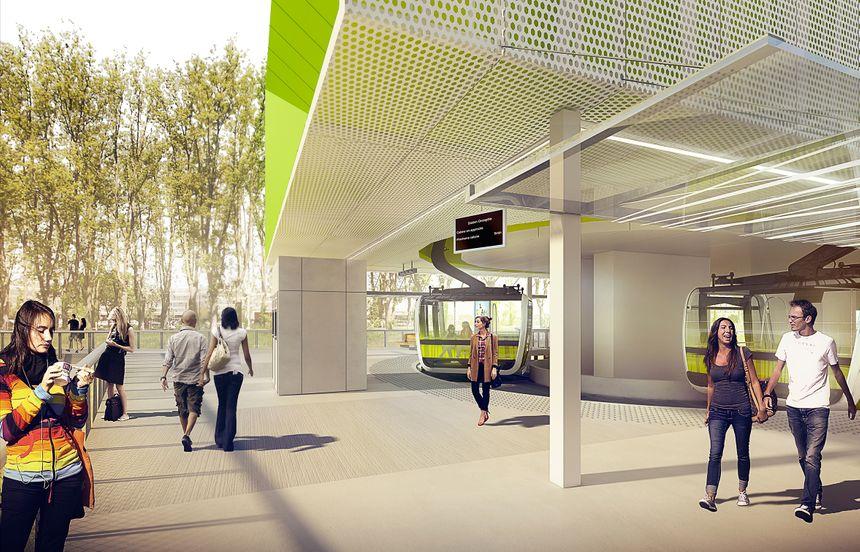Plan de la future station Oncopole du téléphérique Sud qui doit être mis en service fin 2020.