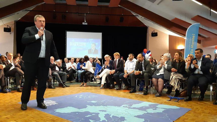 Olivier Carré, lors du meeting de soutien à la liste LREM/Modem à La Chapelle Saint-Mesmin, le 23 mai 2019, en présence d'Edouard Philippe