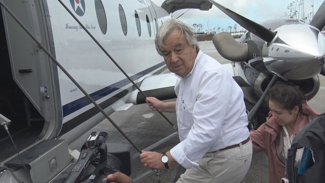 Antonio Guterres à son arrivée aux Bahamas