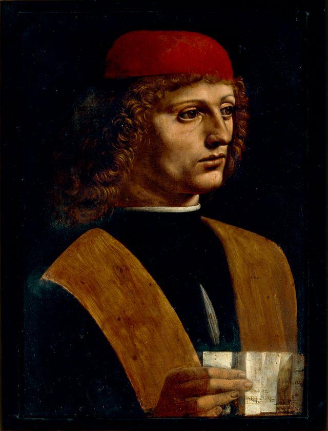 Léonard de Vinci, Portrait de jeune homme tenant une partition