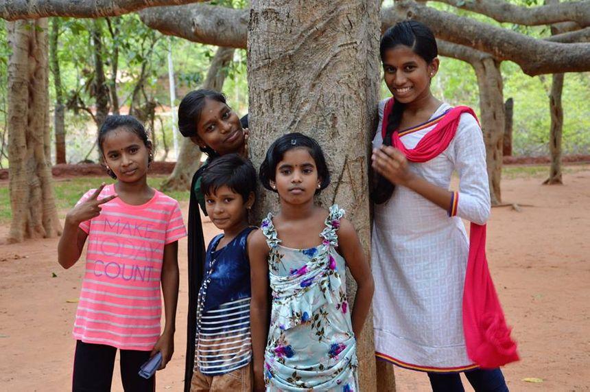 Les fillettes accueillies à la maison d'Agathe à Pondichéry en Inde
