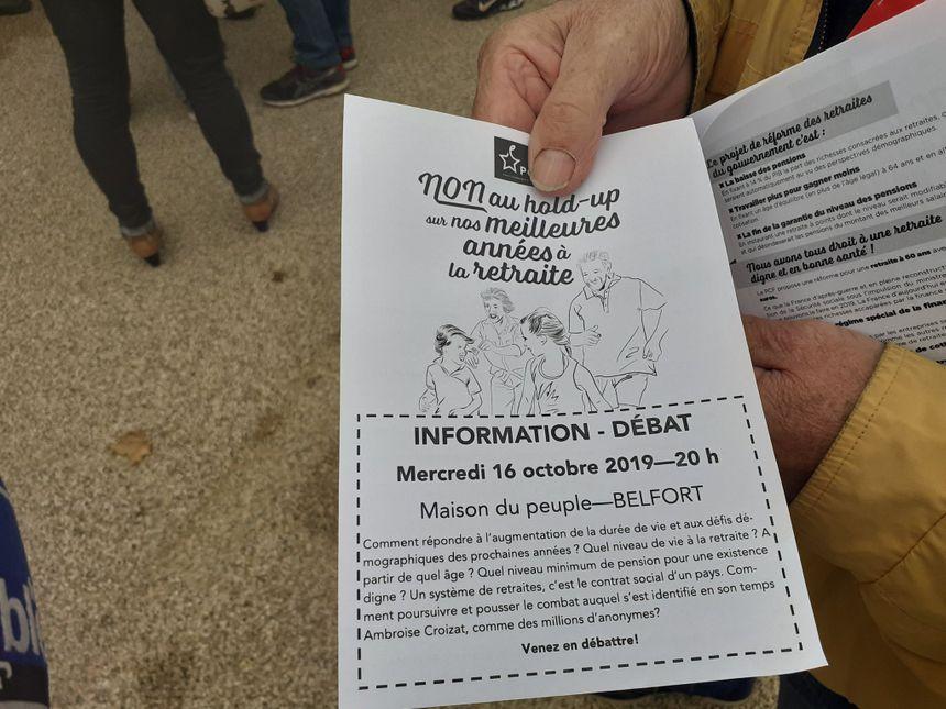 Un des tracts distribués à la manifestation à Belfort.