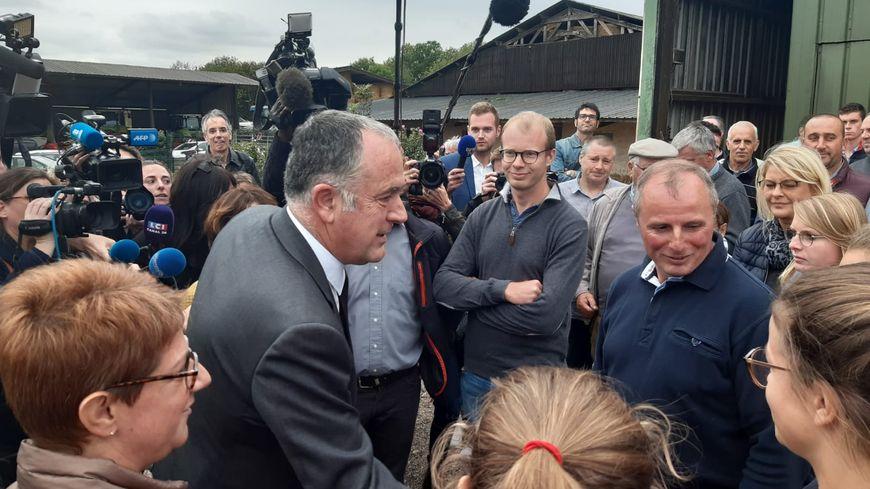 Le ministre de l'Agriculture Didier Guillaume en visite à la Ferme du Chapon à Bois-Guillaume